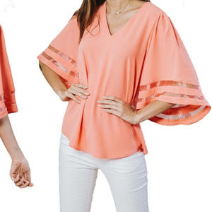 Reflection Mesh Inset Bell Sleeve Blouse 2XL